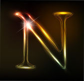 Glowing neon font Shiny letter N