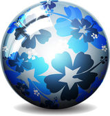 Glossy colorful abstract globe with flowers