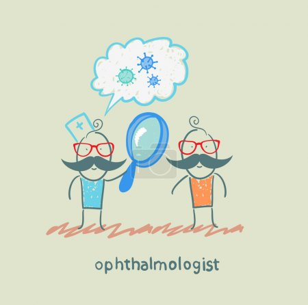 Ophthalmologist tells the patient about bacteria and looking through a magnifying glass