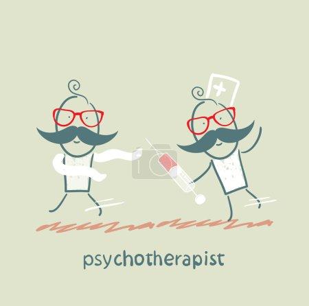 Illustration pour Psychothérapeute avec une seringue rattrapant le fou - image libre de droit