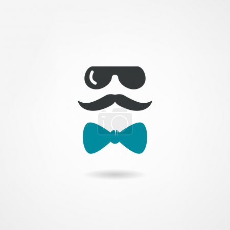 Glasses, mustache and a bow tie