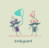 Bodyguard bird catches the butterfly net