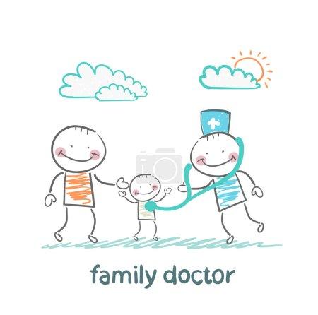 Illustration pour Médecin de famille traite le père et son enfant - image libre de droit