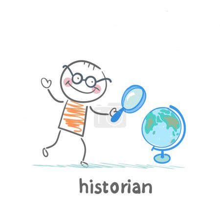 historian looks at the globe through a magnifying glass
