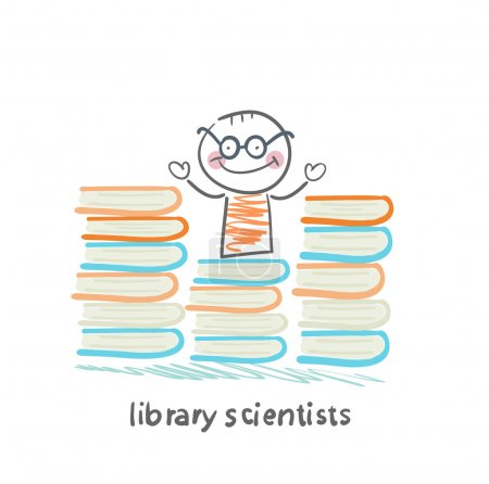 Library scientists stands near a lot of books