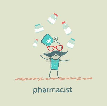 pharmacist juggles medicines