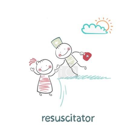 Illustration pour Réanimateur tenant la main d'un patient de l'abîme - image libre de droit