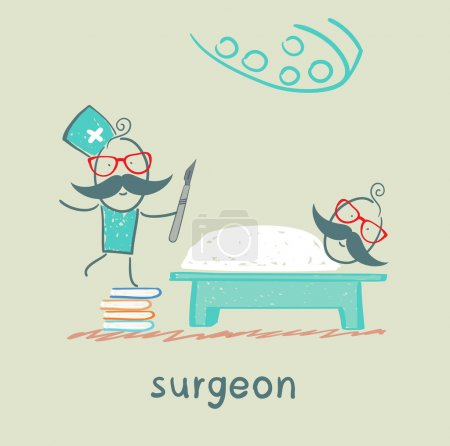 Illustration for Surgeon holding a scalpel and stands on a pile of books next to a patient who is lying on the operating table - Royalty Free Image