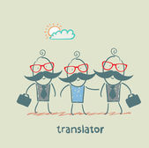 translator helps foreign businessmen