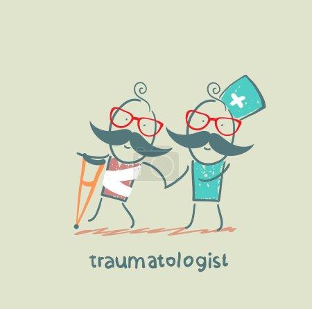 Illustration pour Traumatologue aide le patient avec un traumatisme - image libre de droit