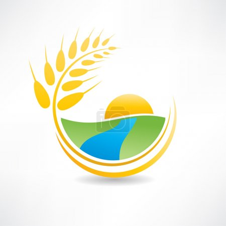 Illustration for Wheat field near the river icon - Royalty Free Image