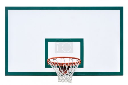 Photo for Basketball hoop cage, isolated large backboard closeup, new outdoor court set, green, red, orange, white back board blank copy space background - Royalty Free Image