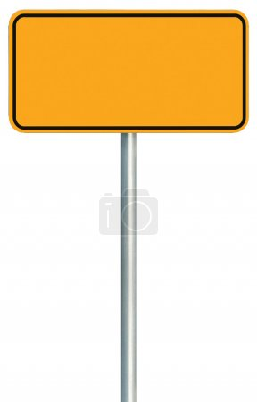 Photo for Blank Yellow Road Sign Isolated, Large Warning Copy Space, Black Frame Roadside Signpost Signboard Pole Post Empty Traffic Signage - Royalty Free Image
