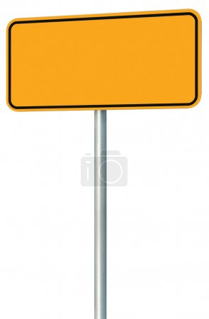 Photo for Blank Yellow Road Sign Isolated, Large Perspective Warning Copy Space, Black Frame Roadside Signpost Signboard Pole Post Empty Traffic Signage - Royalty Free Image