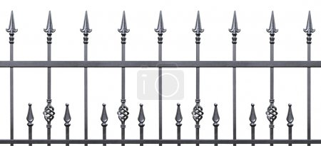 Photo for Forged decorative fence isolated horizontal panorama, large panoramic silhouette, wrought iron fleur-de-lis lattice - Royalty Free Image