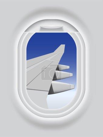Illustration pour Illustration vectorielle en couches du hublot de l'aéronef . - image libre de droit