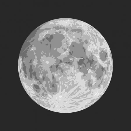 Illustration for Layered vector illustration of Moon with black background. - Royalty Free Image