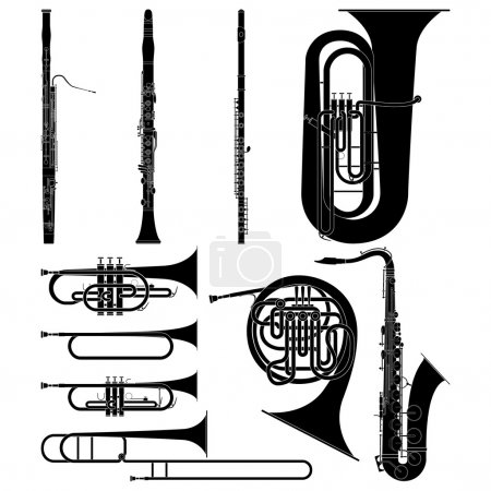 Illustration for Layered vector illustration of collected Wind Instruments. - Royalty Free Image