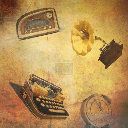 Retro background:radio, typewriter, alarm clock,gramophone