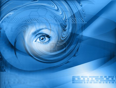 Photo for High-tech technology background with eye - Royalty Free Image