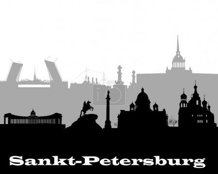 Illustration pour Silhouette noire et grise de Saint-Pétersbourg sur fond blanc - image libre de droit