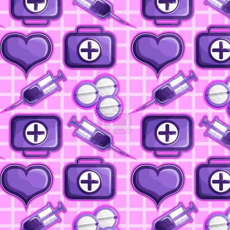 Illustration for Medical icons on a pink background: syringes, pills, heart, and first aid kits. - Royalty Free Image
