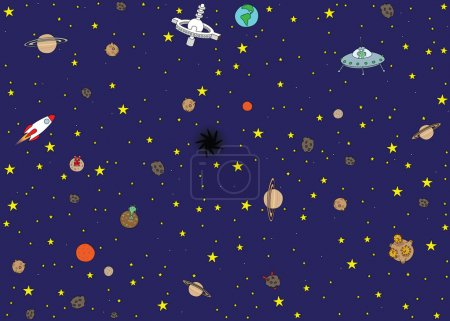 Illustration for Cartoon style illustrated seamless space pattern - Royalty Free Image