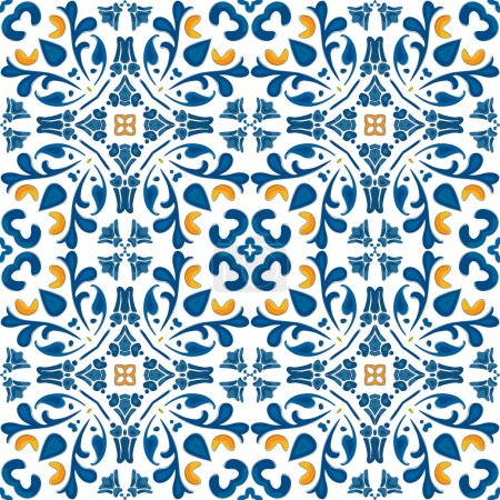 Illustration for Seamless pattern in blue and orange - like Portuguese tiles - Royalty Free Image