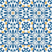 Seamless pattern in blue and orange - like Portuguese tiles