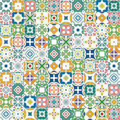 Seamless mosaic pattern made of colorful traditional illustrated tiles