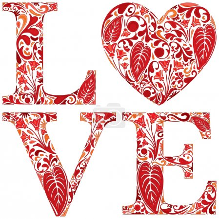 Illustration for Word love made of red floral letters and heart - Royalty Free Image