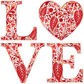 Word love made of red floral letters and heart