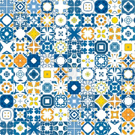 Illustration for Seamless mosaic pattern made of illustrated tiles - like Portuguese tile - Royalty Free Image
