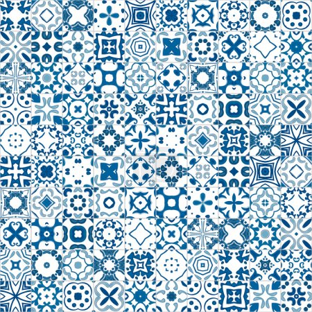 Illustration for Seamless pattern illustration in blue and white - like Portuguese tile - Royalty Free Image