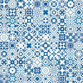 Seamless pattern illustration in blue and white - like Portuguese tile