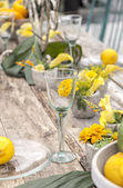 Rustic garden table setting