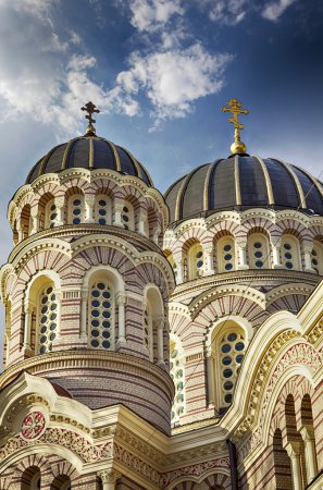 Photo for Image of the grand orthodox cathedral in centarl Riga, Latvia. - Royalty Free Image