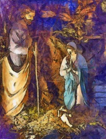 Photo for Image of the nativity scene of the birth of christ. - Royalty Free Image