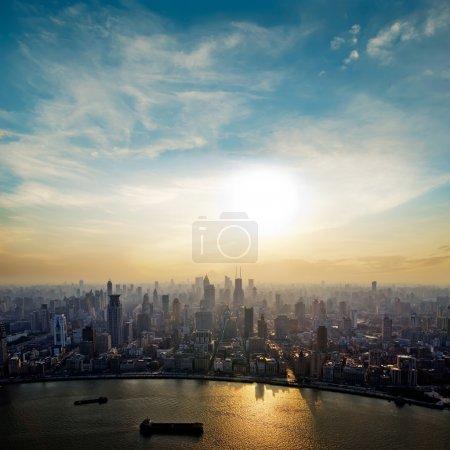 Photo for Modern city at sunrise,Shanghai skyline. - Royalty Free Image
