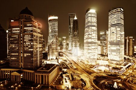 Photo for Shanghai lujiazui financial center in the evening - Royalty Free Image