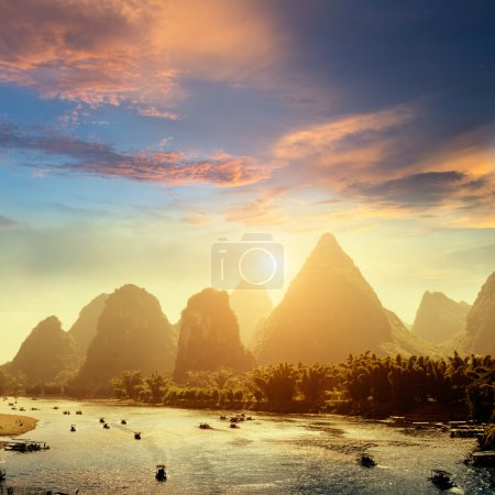 Photo for Sunset landscpae of yangshuo in guilin,china - Royalty Free Image