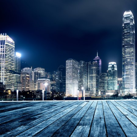 Photo for Hong Kong city skyline at nigh - Royalty Free Image