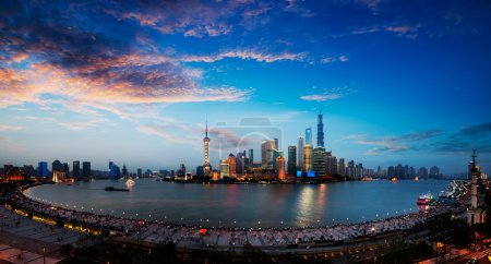 Photo for Panoramic view of shanghai skyline with huangpu river at dusk - Royalty Free Image