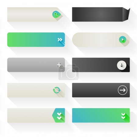 Illustration for Ten call to action buttons, with different styles and shapes. Made with Global Swatches. - Royalty Free Image
