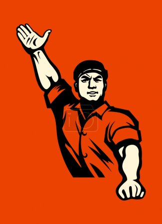 Propaganda poster with agitated worker in red...