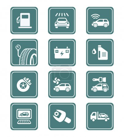 Illustration for Car care, tuning, repair, and more service icons in teal - Royalty Free Image