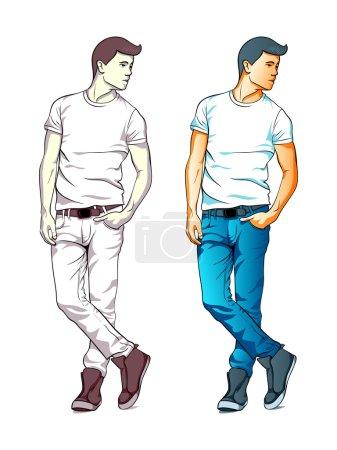 Illustration pour Cool jeune homme de mode en jeans et T-shirt isolé - image libre de droit