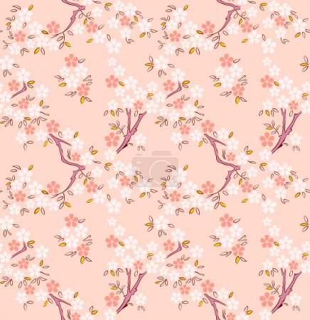 Illustration for Blossoming sakura or cherry trees japanese seamless pattern - Royalty Free Image