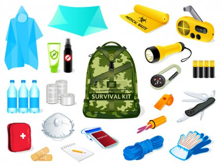 Illustration for Backpack and survival kit in case of the nature disasters - Royalty Free Image