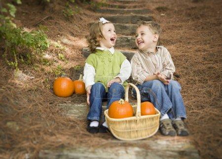Photo pour Mignon jeune frère et sœur enfants assis sur les marches en bois rire avec des citrouilles dans un panier . - image libre de droit